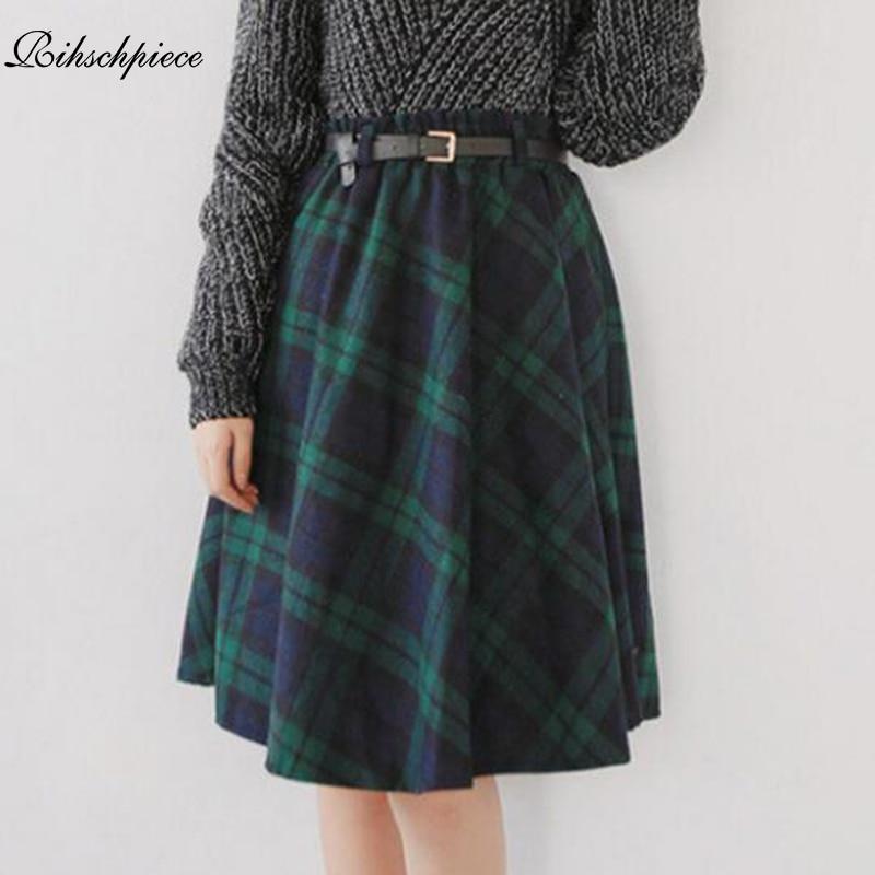 Rihschpiece 2018 Winter Plaid Skirt Women Pleated Vintage Midi Sexy High Waist Lolita Tutu Skirts Womens Gothic Skirt RZF1433