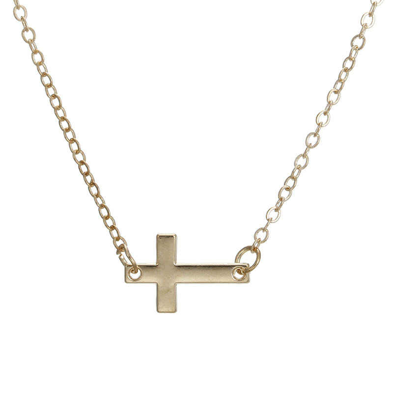 "Fashion Jewelry ""Faith"" Sideways Cross Pendant Necklace For Women"
