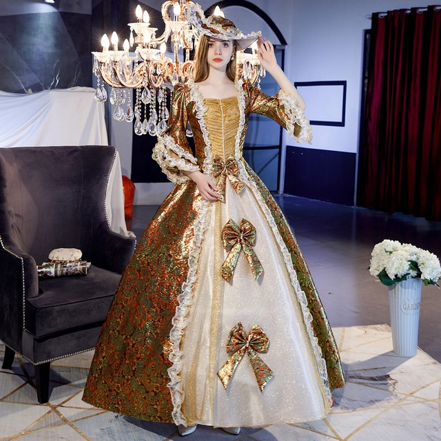 Customized 2019 Spring 3 Colors Square Collar Marie Antoinette Party Dress Medieval Women's Ball Gowns Theater Costumes