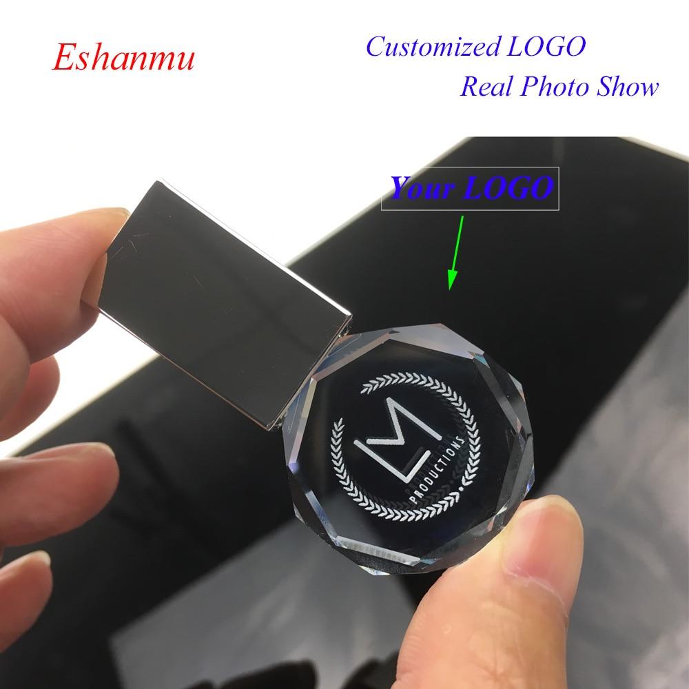 2018 eshanmu oem logo round crystal pendrive usb flash. Black Bedroom Furniture Sets. Home Design Ideas