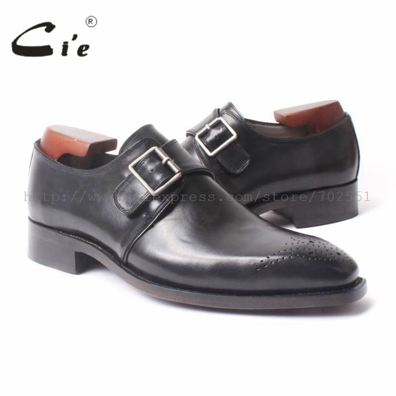 cie  full Grain Calf Leather Size 6-14 Handmade Men's Single Monk Straps Leather Goodyear Welted Man Leather Shoe Black No.MS47