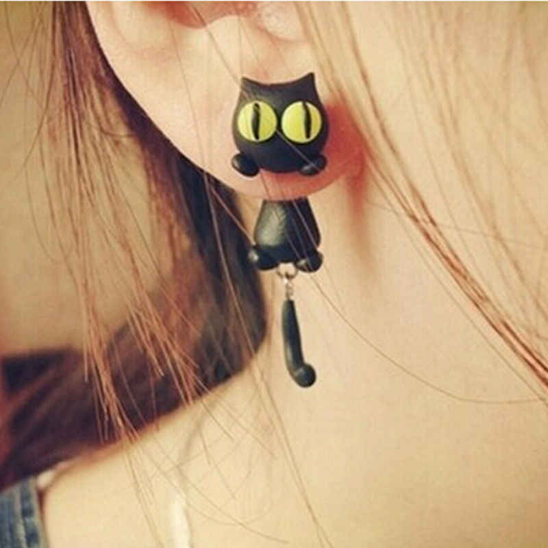 Cartoon 3D Animal Earrings For Women 1 pair New Design Handmade yellow eyes Cute Cat Stud Earring Fashion Jewelry Polymer Clay