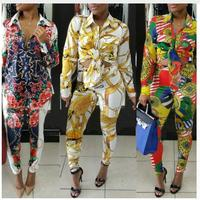Gold Chain Printed Tracksuits Women Two Piece Set Autumn Fashion Long Sleeve Button Up Collar Shirt and Pant Ladies Sweat Suit