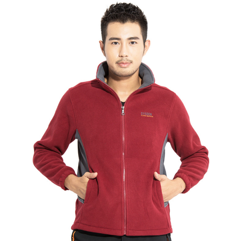 2019 New Men Outdoor Fleece Hiking Jacket Spring Autumn Windproof Thick Warm Jacket Mountaineering Camping Coat Plus Size 006