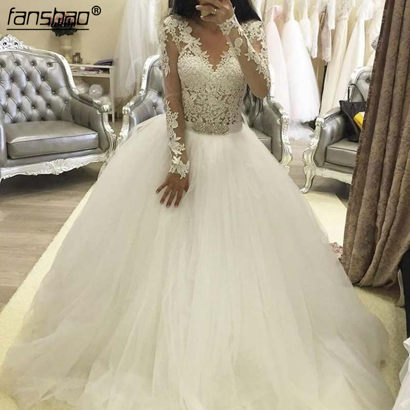 Robe De Mariage 2019 Sheer Lace With Long Sleeves Wedding Dresses Arabic Ball Gown Beaded Belt Vintage Bridal Gowns