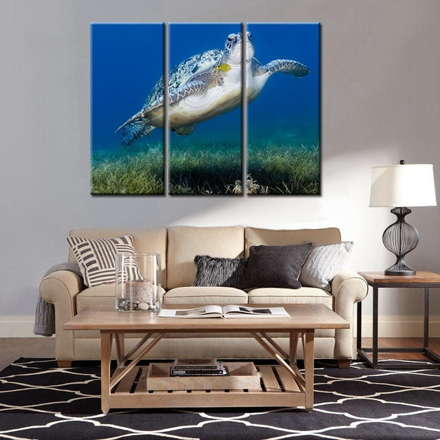Turtle Wall Art Canvas Prints Animals Picture Painting For Dining Room Decor Bathroom Poster