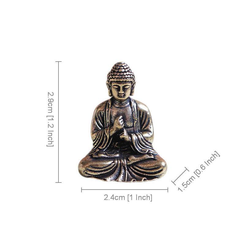 Мини Портативный винтажный латунная статуя Будды карман в виде сидящего Будды Фигурка Скульптура домашний офис стол декоративная игрушка с орнаментом подарок
