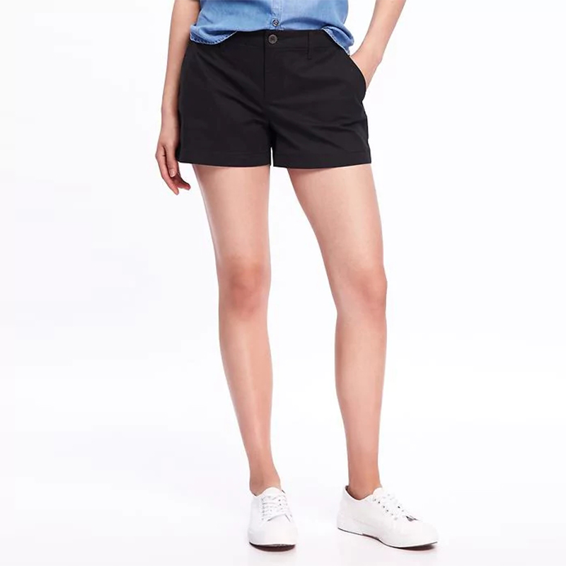 2018 Trendy Women  Shorts Fashion High Waist  Casual Summer Short Pant Trousers Solid Black Color Elegant Short Plus Size S-5XL