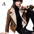 UUV Brand Short Sheepskin Suede Cloak  Winter Jacket Lapel Thin Light Warm Women's Motorcycle Shearling Coats Jaqueta JS1303010