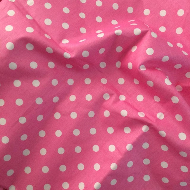 Superbe 100*160cm Big Pink Cloth White Polka Dot Jade 100% Cotton Twill Home Decor