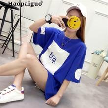 Plus Size S-2XL Harajuku Spring Summer Cotton T Shirt Women Printed Letter Long T-shirt Woman Tee Tops Casual Female T-shirts