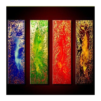 8*32inch*4P hand painted acrylic Modern Oil Painting On Canvas 4 Panel color Art Sets Abstract Home Wall Decor For Living Room