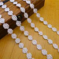 (12 yardas/lote) poliéster encaje soluble en agua bordado de algodón tela de encaje para decoración de boda de alta calidad 1,2 cm de ancho