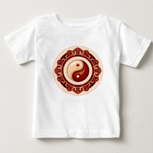 Boys and girls short sleeved T-shirts summer Tai Chi prints T-Shirts Chinese childrens latest