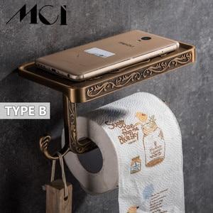 Image 3 - Antique Esculpida Acessórios Do Banheiro Suporte Do Telefone Móvel Papel Com Prateleira Do Banheiro de Toalha Cremalheira Higiênico Suporte de Papel Caixas de Tecido