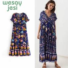 Womens Dress New Floral Printed Boho Long Sleeve Maxi Summer Beach Plus Size Holiday women Dresses plus size