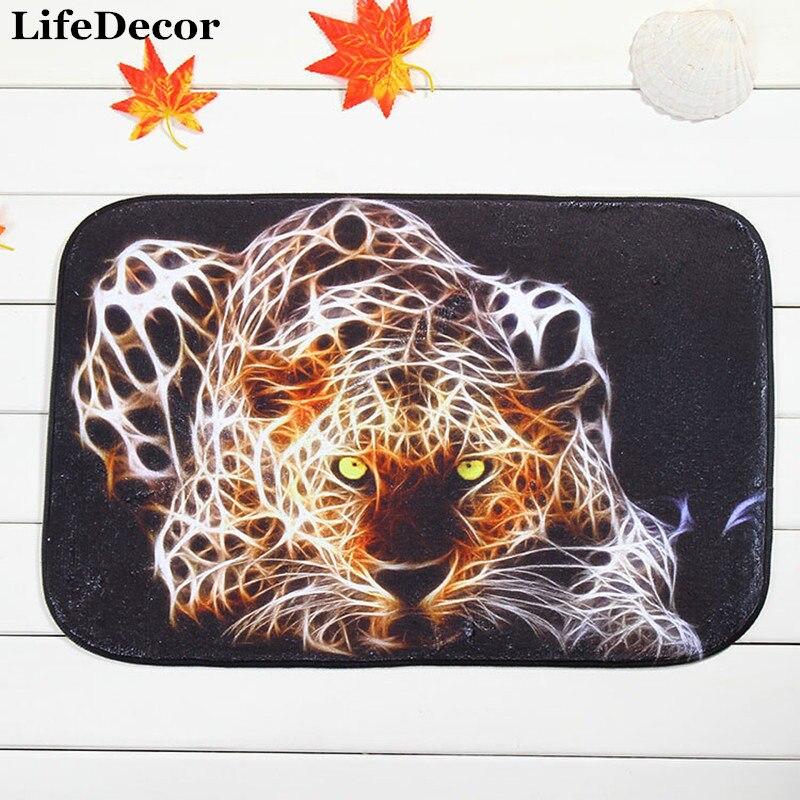 New 40x60cm Cheetah Bath Mat Non-slip Mats Quality coral velvet Rug Shower Carpet for Bathroom Kitchen
