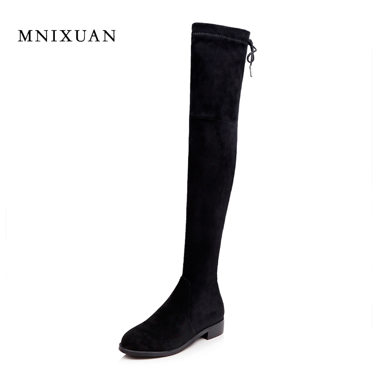 Winter boots women over the knee autumn ladies shoes handmade genuine leather low heels elastic black boots big plus size 40-43 plus size 34 43 winter autumn women soft leather knot low heels lovely knee high boots 3colors pink ladies fashion female shoes