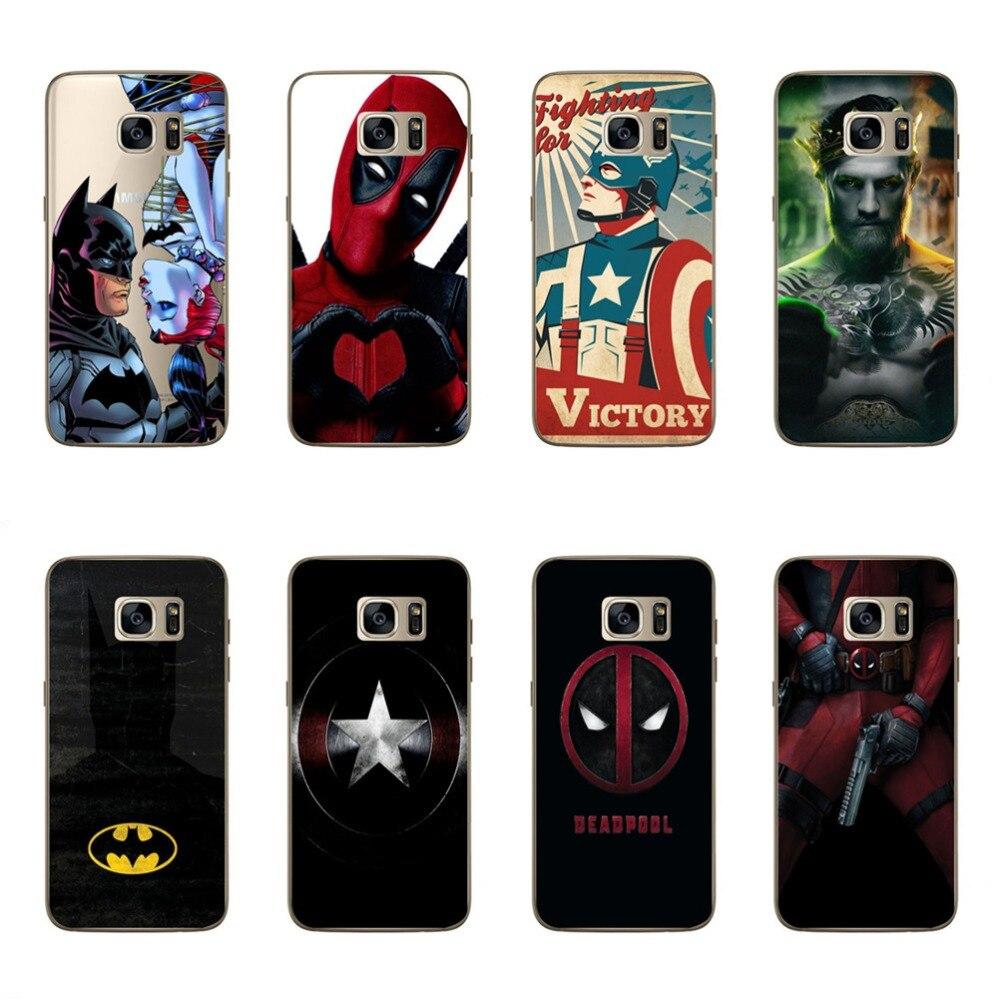 For Samsung Galaxy S7 Luxury Phone Case Cool Hero Batman Spider man Deadpool TPU Cover Skin For Samsung S7 Phone Bag Funda Coque