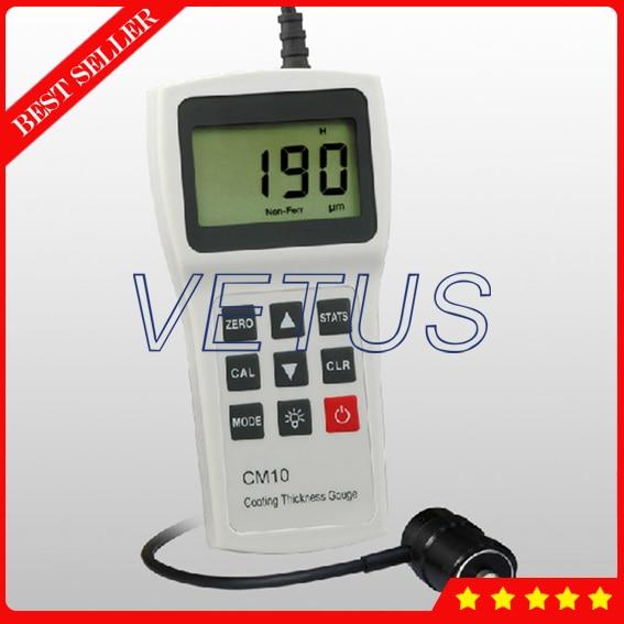 0 2000um CM10N Handheld Digital Plastic Rubber Paint Coating Thickness Gauge Meter with N Probe Tester Eddy Current Method