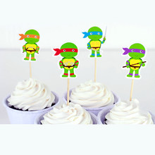 Happy Birthday Party Ninja Turtles Theme Kids Boys Favors Baby Shower Decorate Fruit Cake Cartoon Toppers Cupcake Sticks 24pcs(China)