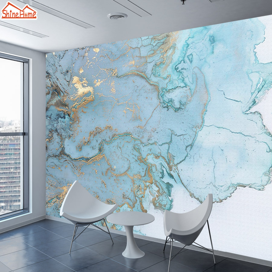 Brick Marble Pattern Wallpaper 3d Murals For Living Room Wall Papers Home Decor Gold Blue Mural Rolls Wallpapers TV Background