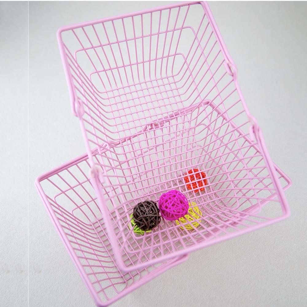 Mini Shopping Basket New Pink Desktop Storage Sorting Box Ins Photo Background Props Pink Shopping Basket