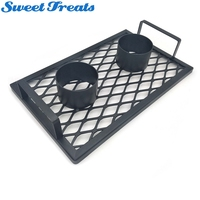 Sweettreats Double beer can chicken cooker Baking Pan Grilled Roast Rack For Outdoor Camping BBQ