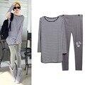 Maternity Clothing Set Tees+Leggings 2pc Pregnant Women Plus Size Stripe T-Shirt  Patch Skinny Pants Suit 0602
