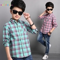 Boys Plaid Shirts Long Sleeve Cotton Blouses Boys Clothing Children Outerwear Spring Autumn Tops Kids Teenager Clothes L276