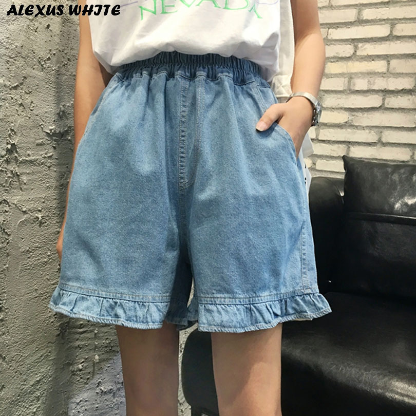 Ruffles Jeans Shorts Female 2017 Summer Women's Elastic Waist Denim Shorts Loose Washed Straight Shorts