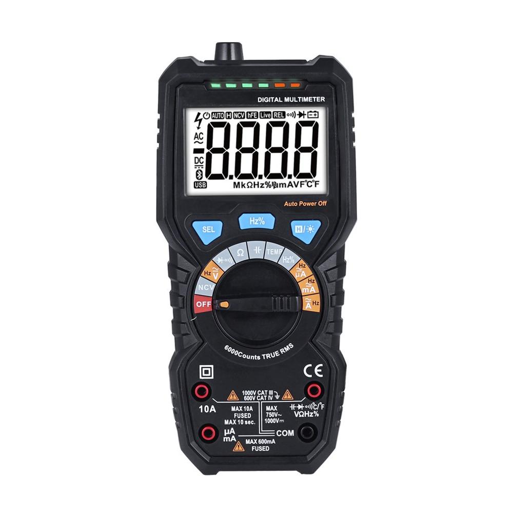 Digital NCV Multimeter True RMS DC/AC Ammeter Voltmeter Resistant/Capacitor/ Diode/Temperature/Frequency Tester Auto Range