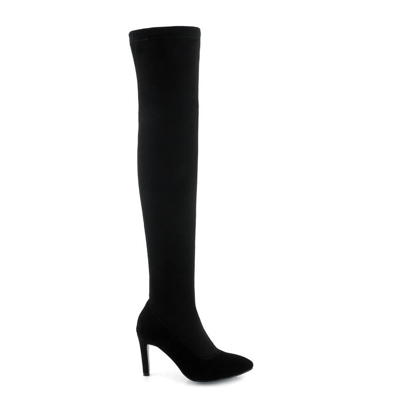 Negro Sobre Cuero Delgados Elegantes Zapatos La Mujer 2018 Rodilla Botas Tacones Suede Altas Clásico Vaca Señoras Smirnova xH7nOp5H