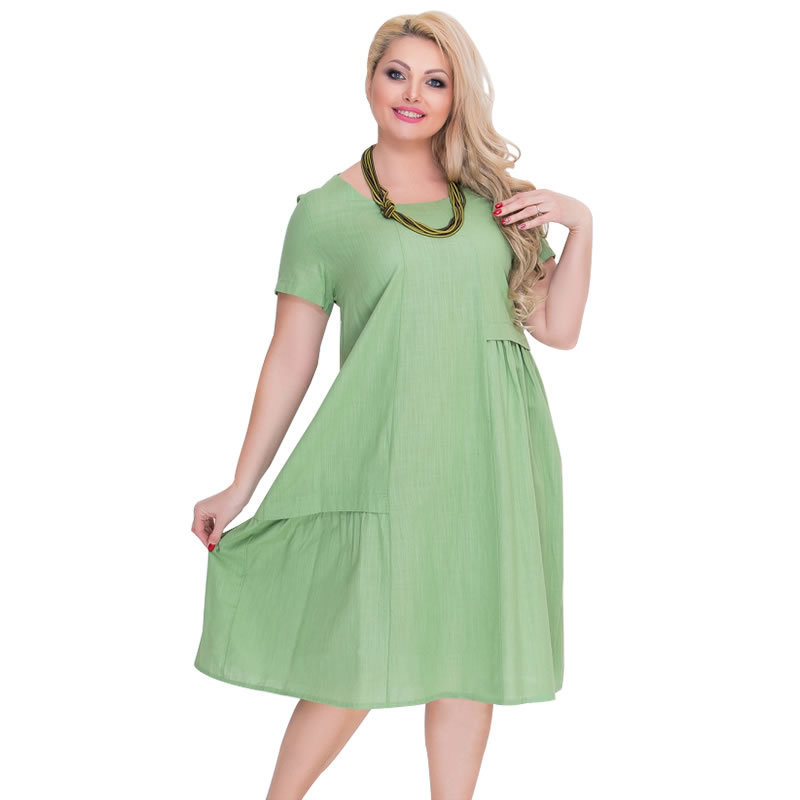 1faff86119f US $10.93 10% OFF 2018 Plus Size L 6XL Fat MM Women Fashion Office Uniforms  Ladies Short Casual Solid Party O Neck Dress 3 Colours JTZBD1068-in ...