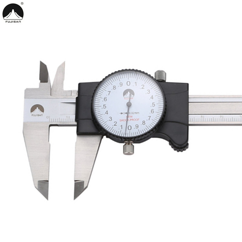 FUJISAN Dial Caliper 0-150mm/ 0.02 Gauge Stainless Steel Shock-Proof  Vernier Calipers Micrometer Measuring Tools fashion red lip embellished black pendant faux leather sweater chain necklace for women