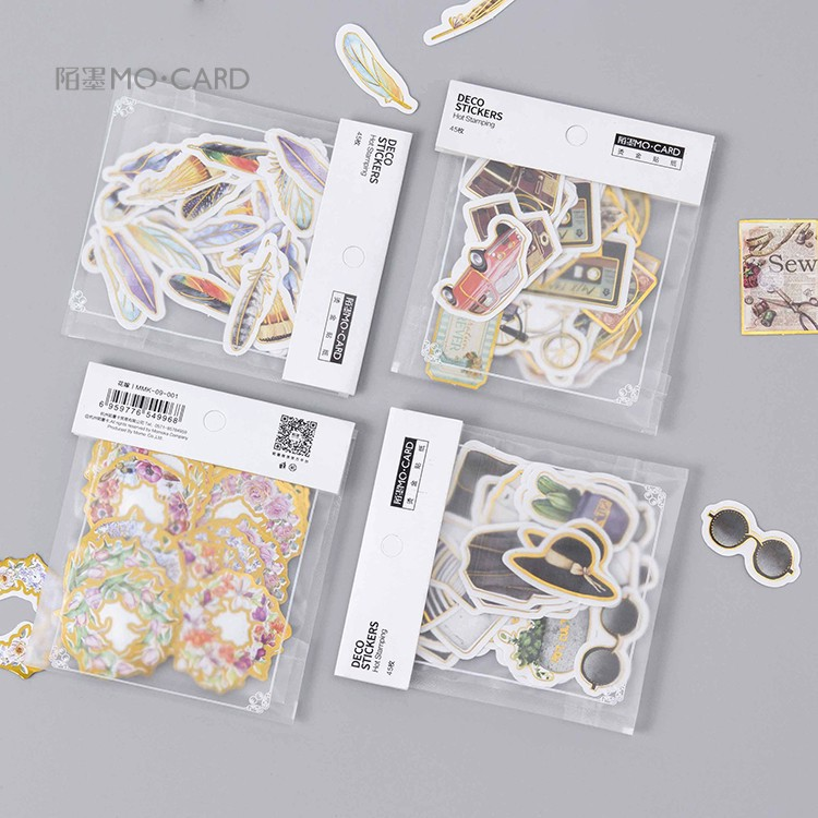 45pcs/lot Creative Cute Feather Clothes Gilding Paper Sticker Decoration Diy Ablum Diary Scrapbooking Label Stickers Stationery 45pcs box cute animal crystal ball mini paper decoration stickers diy diary scrapbooking seal sticker stationery school supplies