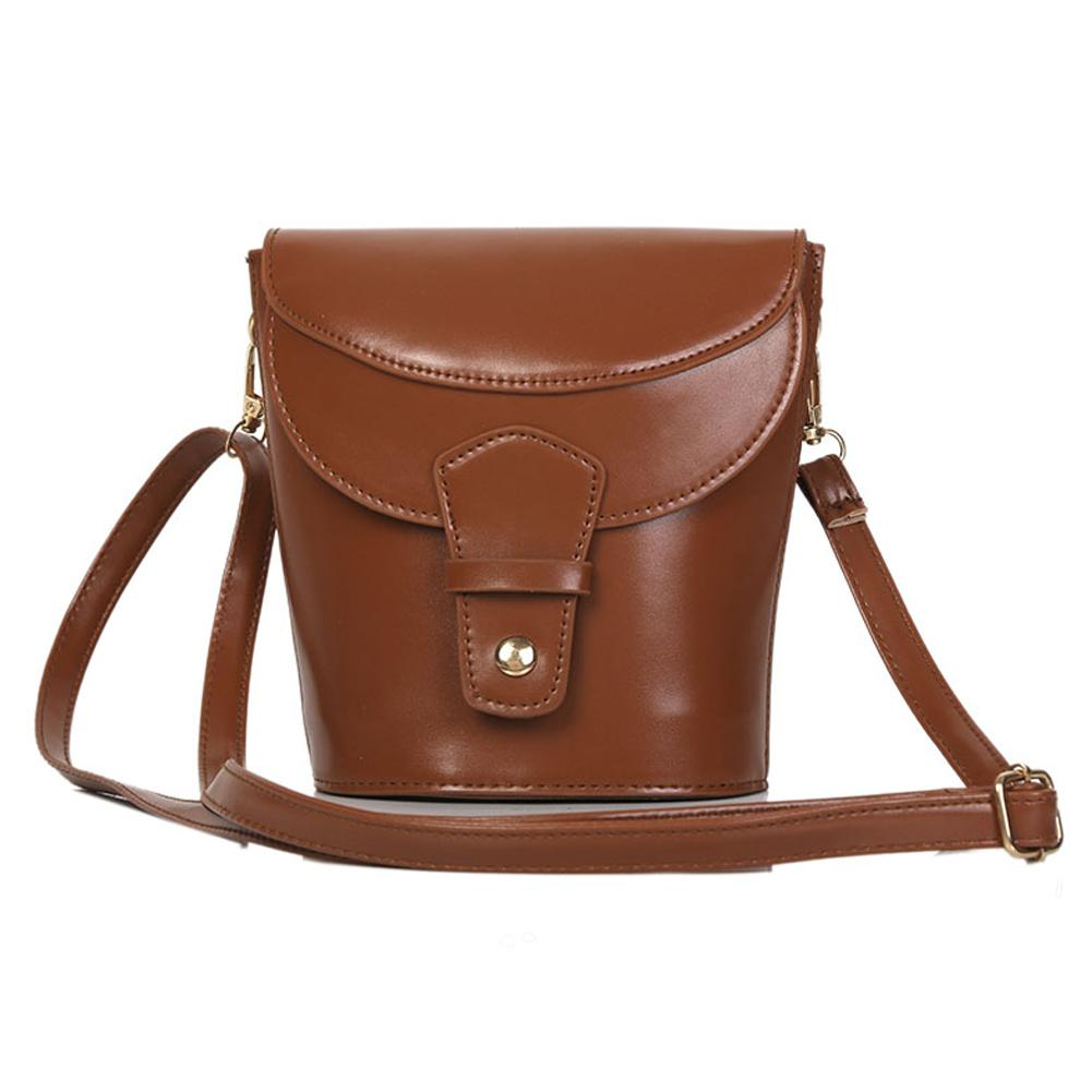 Women Vintage Solid Color Faux Leather Bucket Bag Small Crossbody Shoulder Pouch