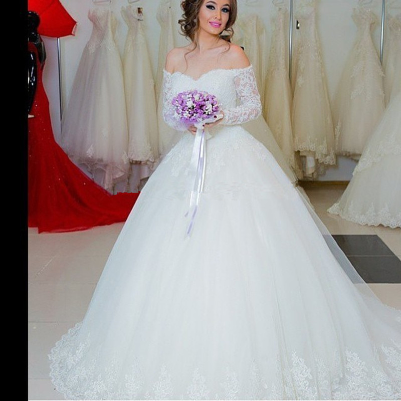 Lace Wedding Gown Designers: New Design Ball Gown Long Sleeve Off Shoulder Tule Lace