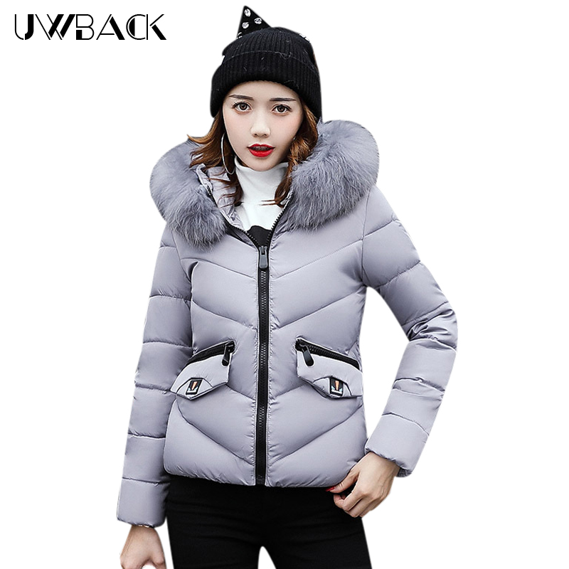 Uwback Women Winter Jacket with Faux fur Hood Female Casual Thick Coat Short Warm Outwear Mujer Cotton Padded Coat Soft, EB260 uwback women winter jacket faux fur hood 2017 new female wadded jacket long cotton padded coat mujer warm parka slim eb249