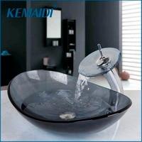 KEMAIDI Oval Washroom Basin Vessel Vanity Sink Bathroom Mixer Basin Washbasin Brass Faucet Set w/ Drain