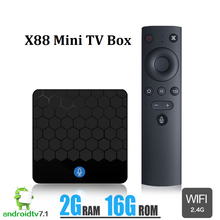 X88 Mini Tv Box Smart Voice Control Google Android 7.1 2G 16G Rockchip RK3328 WiFi 4K USB 2.0 2.4G Media Player Set Top Boxes