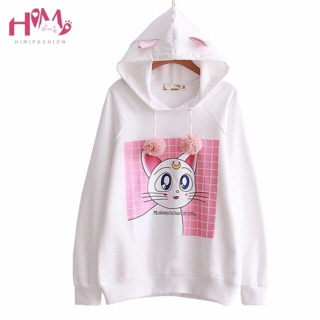 6eb3f2b7d9c Japanese Style Fashion Cartoon Print White Hoodies Mori Girl Fresh Sailor  Moon Cat Pink Hooded Sweatshirt