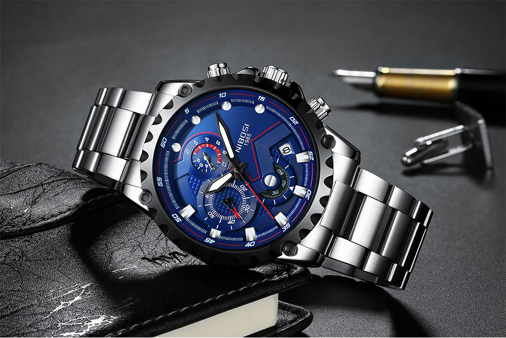 Military Watches Men Quartz Analog Men Watches Stainless Steel Time Date Clock Men Luxury Brand Hot Famous Brand Watches NIBOSI  (13)