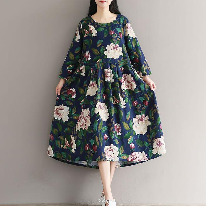 Lâche Cou Imprimé Femmes Robes Robe Longues Green Littérature D10 Automne À Taille Occasionnel Floral Printemps Haute Manches O Plissée x6fqwRYS
