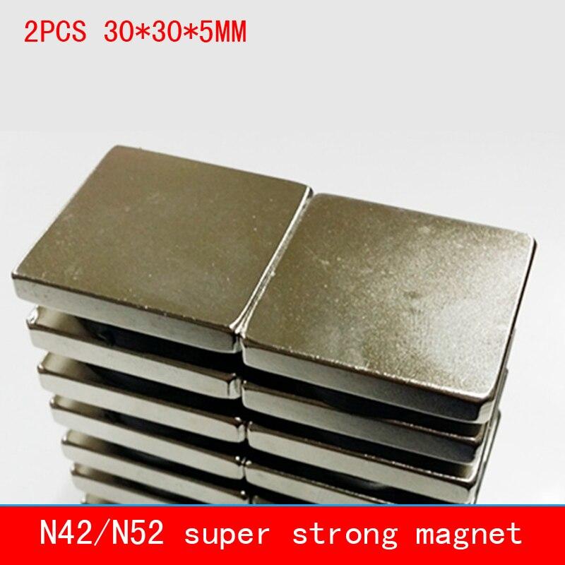 2PCS 30*30*5mm strong neodymium N42 N52 permanent magnet NdFeB magnets