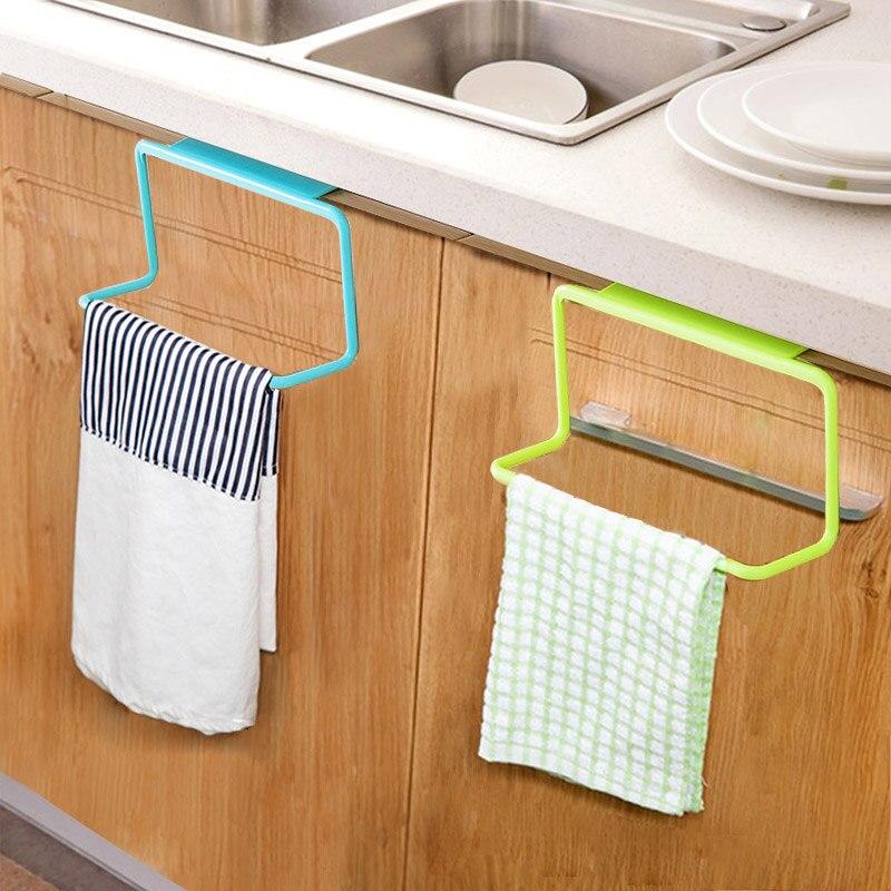 Newly Door Tea Towel Rack Bar Hanging Holder Rail Organizer Bathroom Cabinet Cupboard Hanger Kitchen Accessories  Sale