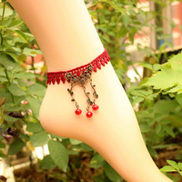 605  Women Lace Feet Jewelry Accessories Fashion Concise Leaves Vines Red Lace Anklet   B1581