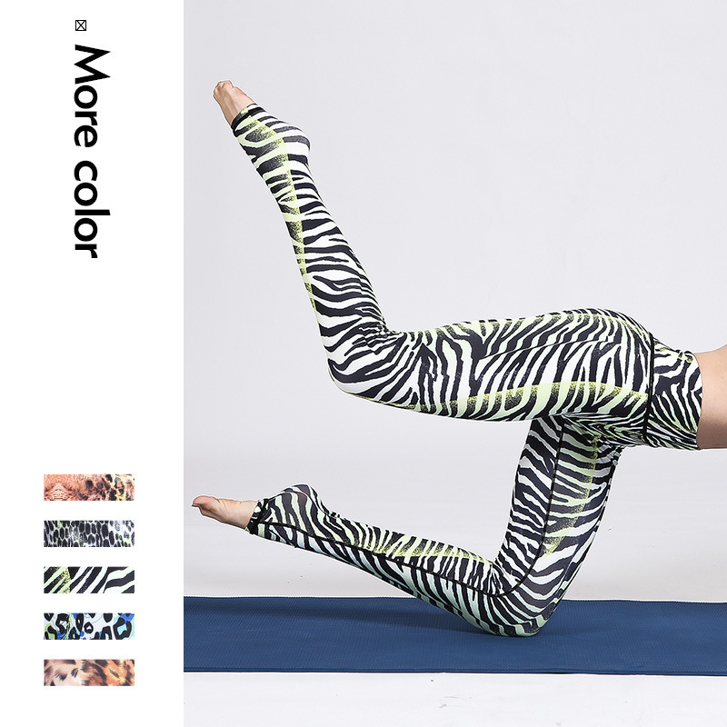 New Pattern Motion Yoga Printing Pants Bodybuilding Maam Leisure Time Elastic Force Yoga Serve Four Needle Six Line