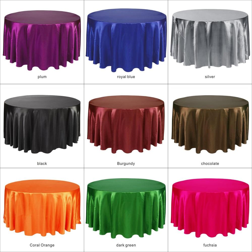 10 stks/pak Zilver Kleur 120 inch Ronde Satijn Tafelkleden tafelkleed voor Wedding Party Restaurant Banket Decoraties-in Tafelkleden van Huis & Tuin op  Groep 3