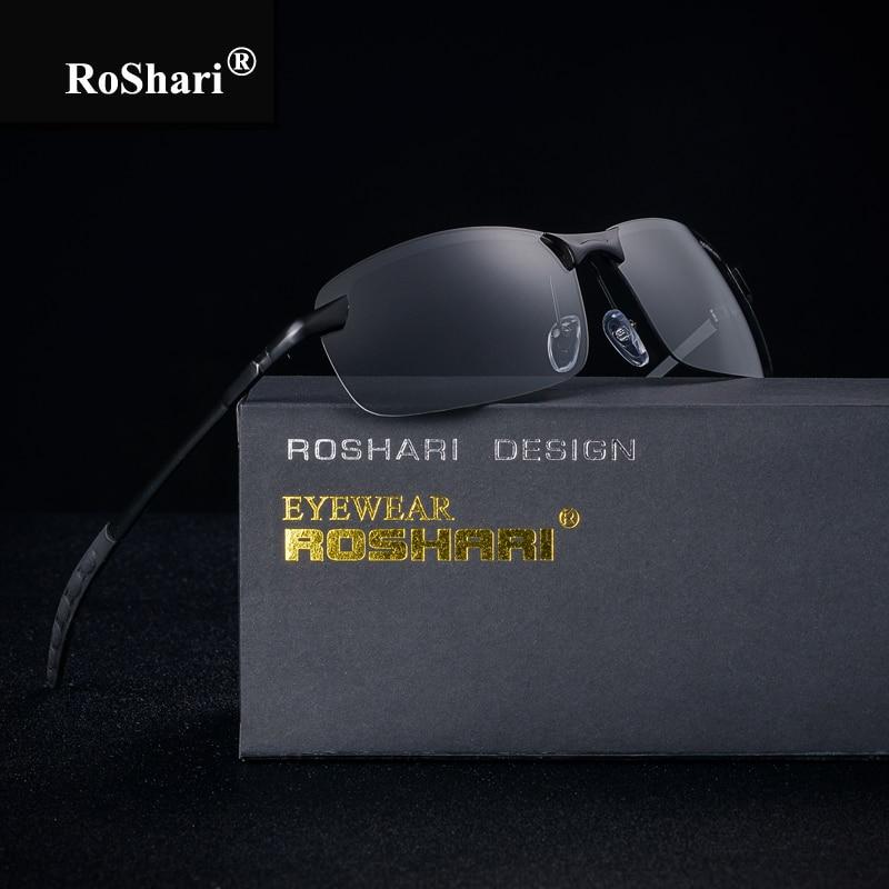RoShari Chameleon Gafas de sol para hombres Fotocromático Decoloración durante todo el tiempo Conducción profesional Gafas de sol para hombres lunette de soleil
